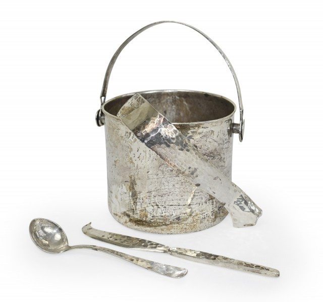 Lot 81. Hand Hammered Sterling Ice Bucket Set