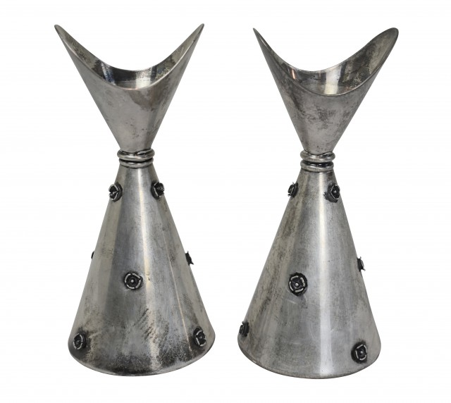 Lot 62. Pair of Comuso Sterling Candlesticks