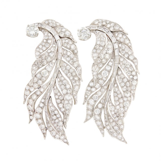 Pair of Platinum and Diamond Feather Clips, Paul Flato. Est. $30,000-50,000. Lot 292. Auction April 24