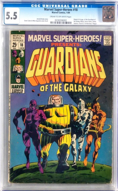 Marvel Comics, Marvel Super-Heroes issue #18, 1969, with first appearance of the Guardians of the Galaxy. Lot 11