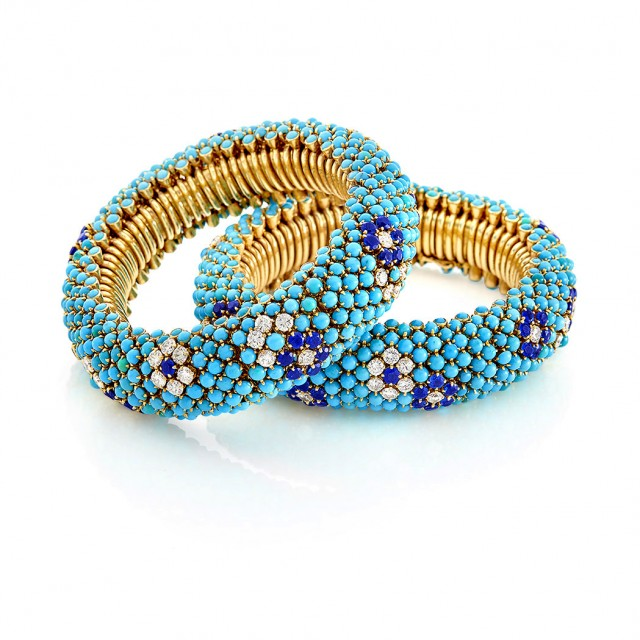 Pair of Gold, Turquoise, Diamond and Sapphire Bracelets/ Necklace Combination, Van Cleef and Arpels, France. Est. $30,000-50,000. Sold for $150,000