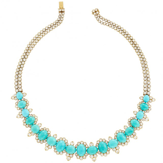 Gold, Turquoise and Diamond Necklace, Van Cleef and Arpels. Est. $35,000-45,000. Sold for $68,750.