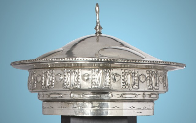 Vienna Secession Silver Plated Monumental Bowl and Cover Designed by Josef Maria Olbrich for the Living Room Interior in the German Exhibit of Arts and Crafts at the Louisiana Purchase Exhibition in 1904. Auction June 6.