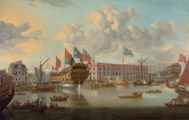 William Prat, The 'St. Albans' Floated out at Deptford, after John Cleveley the Elder. Lot 31. Est. $8,000-12,000. Auction May 23.