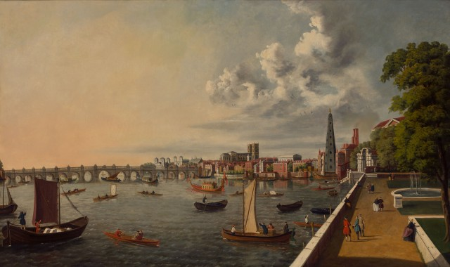 School of Samuel Scott, London: The Thames from Somerset House Terrace towards Westminster. Lot 40. Est. $7,000-10,000. Auction May 23.
