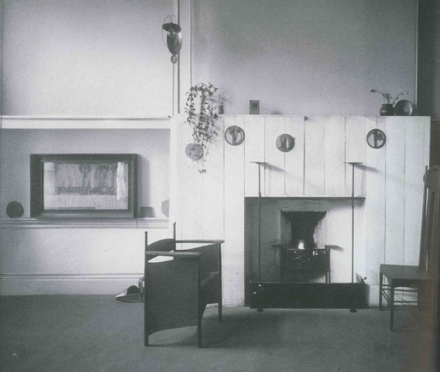 Mackintosh's Studio Flat, circa 1900, showing one of the chairs.