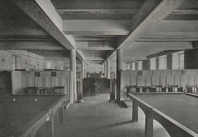 The Billiard Room at Miss Cranston's Argyle Street Tea Room, circa 1906, showing the chairs and stands designed by Mackintosh.