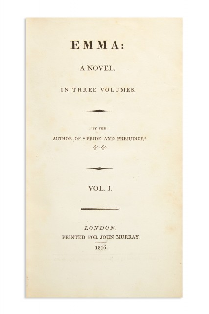 Emma, 1816, first edition. Lot 228.
