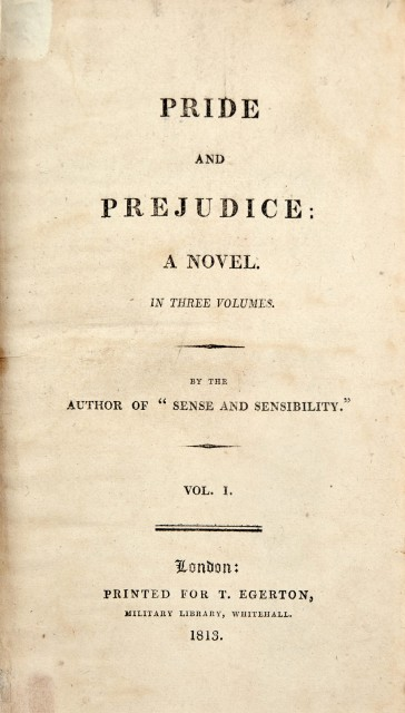 Pride and Prejudice, 1813. first edition. Lot 227.