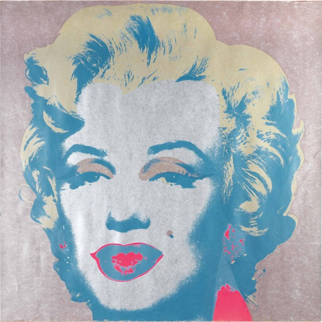 Andy Warhol, MARILYN, Color screenprint, 1967, signed, dedicated to Sylvia. Lot 155. Auction Oct 22.