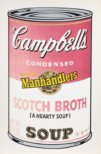 Andy Warhol, SCOTCH BROTH, Color screenprint, 1969, signed, dedicated to Sylvia. Lot 157. Auction Oct 22.