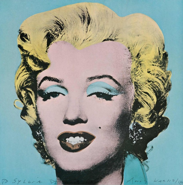 Andy Warhol, MARILYN (TATE GALLERY), Color offset lithograph, 1971, signed, dedicated to Sylvia. Lot 158. Auction Oct 22.