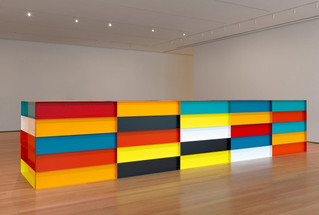Donald Judd. Untitled. 1991. Enameled aluminum, 59″ × 24′ 7 1/4″ × 65″ (150 × 750 × 165 cm).