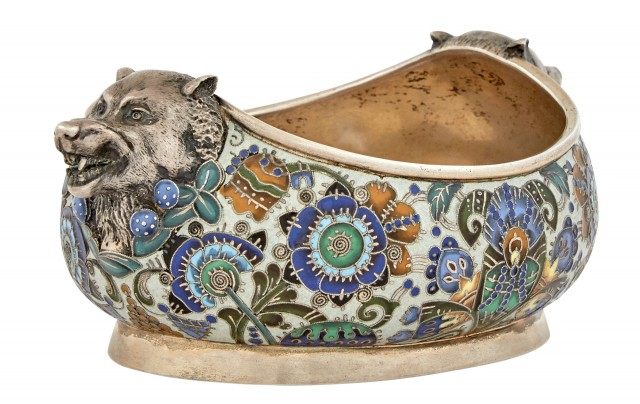Russian Parcel-Gilt Silver and Cloisonné Enamel Bowl, Feodor Rückert, Moscow, 1908-1917. Sold at Doyle on April 28, 2020 for $43,750.