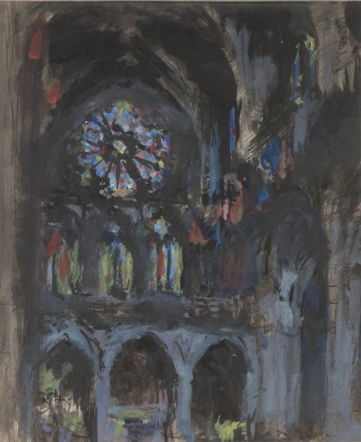 Malcolm McKesson, Washington Cathedral, 1958. Est. $600-800. Lot 47. Paintings and Drawings Online. Bidding ends May 12.