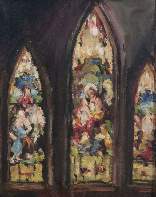 Malcolm McKesson, Church Window. Est. $700-900. Lot 48. Paintings and Drawings Online. Bidding ends May 12.