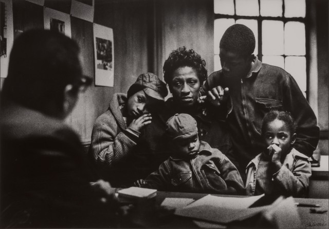 Gordon Parks (1912-2006), Bessie Fontenelle and Children at Welfare Office, New York, 1968.  Est. $2,000-3,000. Lot 114. Photographs. Auction June 29.
