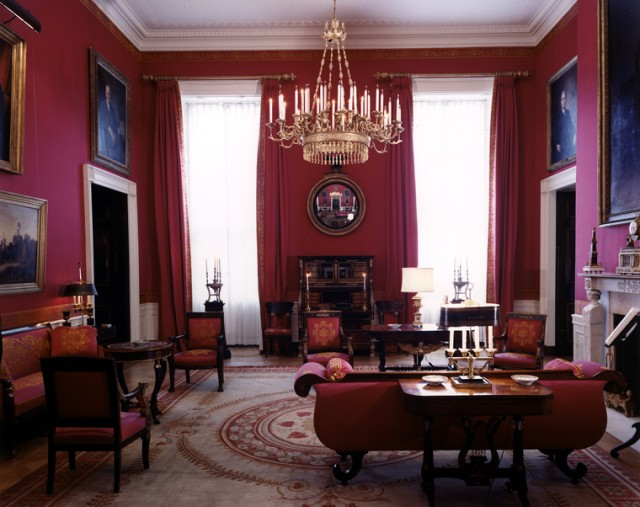 The Red Room in the White House designed by Maison Jansen