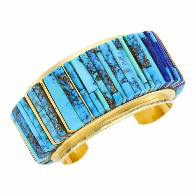 Charles Loloma Gold, Turquoise and Lapis Cuff Bangle Bracelet, circa 1980-85. Est. $7,000-9,000. Lot 39. Important Jewelry. Auction Dec 16, 2020