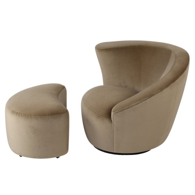 "Vladimir Kagan ""Corkscrew"" Swivel Chair And Ottoman In Tan Velvet, Circa 1990s - $2,500"