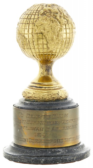 The Golden Globe Award Presented to Celeste Holm for Best Supporting Performance in Gentleman's Agreement, 1947. Est. $20,000-30,000. Lot 32. Auction April 28.