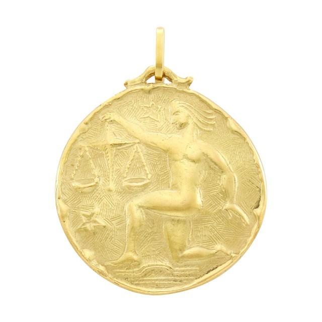 Jacques Cartier Gold Libra Pendant. Est. $2,500-3,500. Lot 169. Auction May 6.