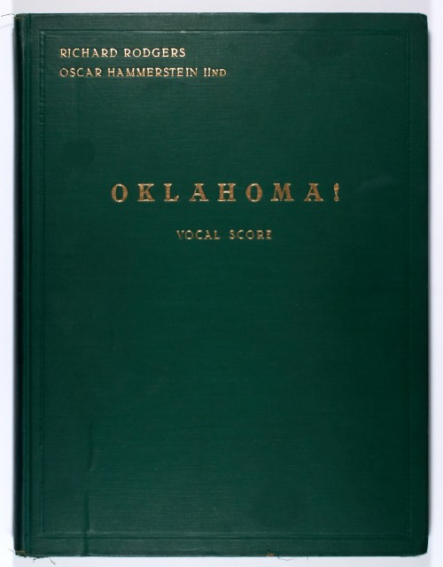 Celeste Holm's vocal score for Oklahoma! inscribed by Richard Rodgers.  New York: Williamson Music, 1943. Est. $3,000-5,000. Lot 12. Auction April 28.