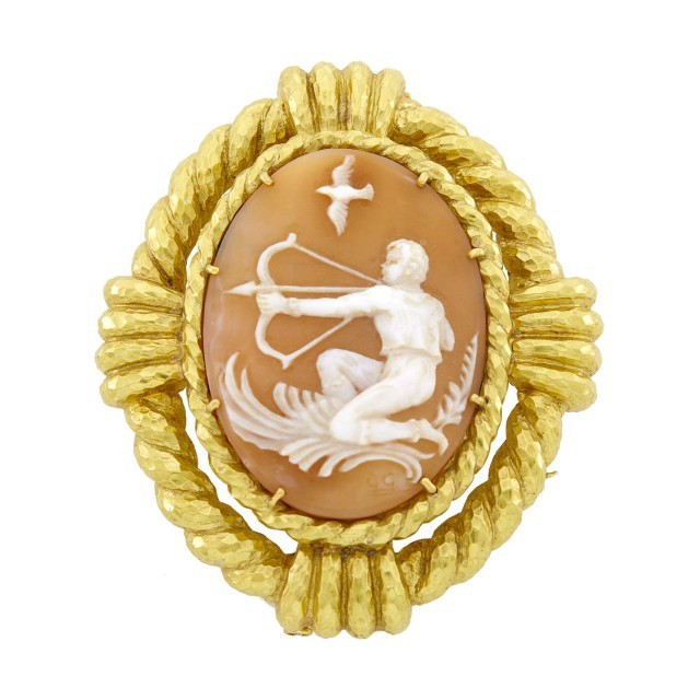 David Webb Gold and Shell Cameo 'Sagittarius' Pendant Clip-Brooch. From the Estate of a Prominent Hollywood Auteur. Est. $3,000-5,000. Lot 122. Auction May 6.