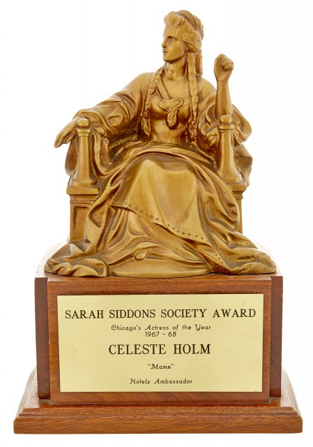 [ALL ABOUT EVE] The Sarah Siddons Society Award Presented to Celeste Holm, 1967. Est. $10,000-15,000. Lot 32. Auction April 28.