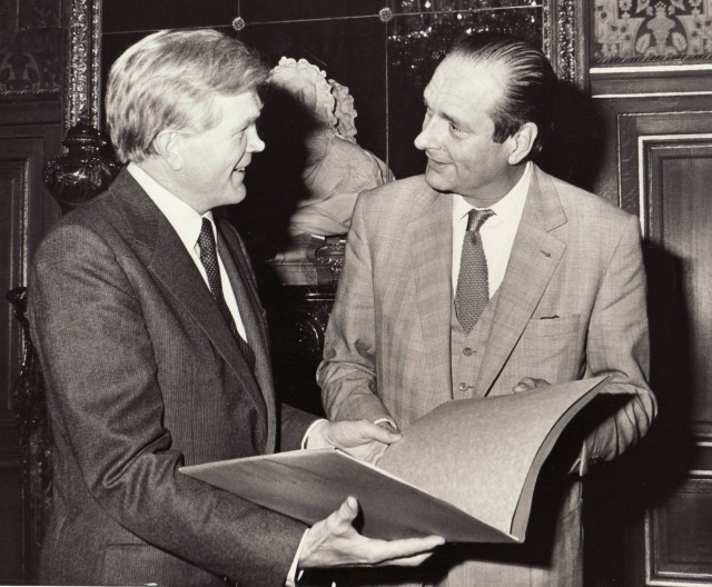 Ambassador Evan G. Galbraith with French President Jacques Chirac
