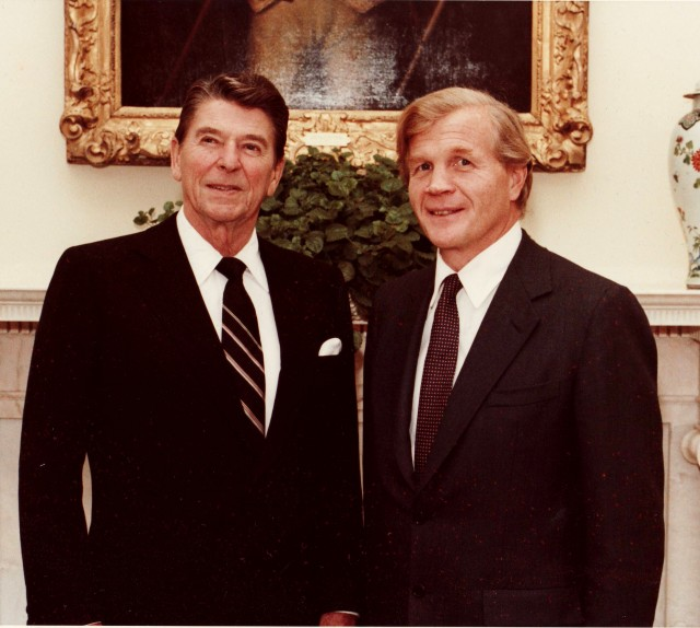 Ambassador Evan G. Galbraith with President Ronald Reagan
