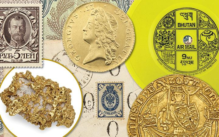 Coins, Bank Notes, Postage Stamps and Minerals