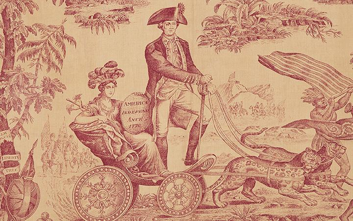 The Victory of Washington and The Apotheosis of Franklin, A British Red and Cream Toile made for the American Market