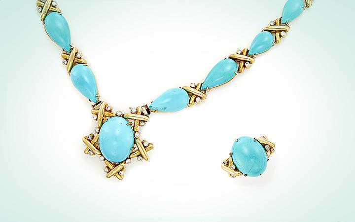 Turquoise necklace and ring